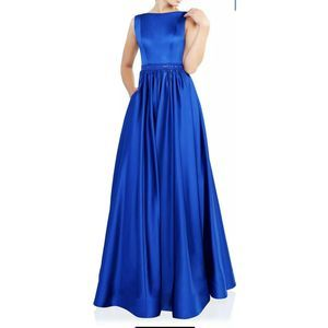 Mac Duggal Boat Neck Sleeveless Pleated Gown